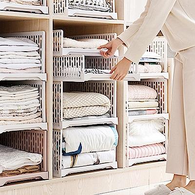 【Mr.box】日式抽取式可疊衣櫃收納架(大款高 6件組)-北歐白