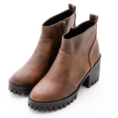 River&Moon短靴-率性渲染皮革拉鍊中跟軍短靴-咖啡