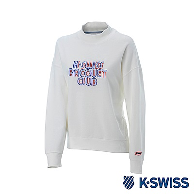 K-SWISS Round Sweat Shirts 圓領長袖上衣-女-白
