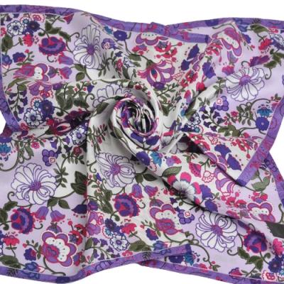 ANNA SUI 繽紛藤蔓花朵圖騰字母LOGO大帕領巾(紫底)