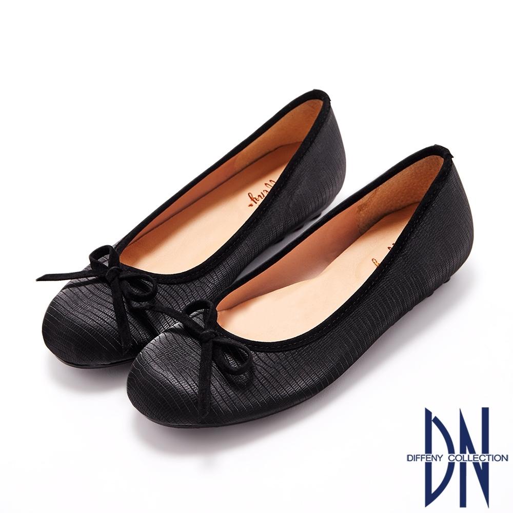DN娃娃鞋_MIT甜美蝴蝶結拼接壓紋豆豆鞋-黑