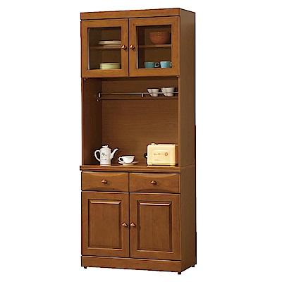 綠活居 薛曼時尚2.7尺實木餐櫃/收納櫃組合(上+下座)-82x43x201.5cm-免組