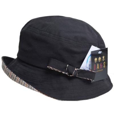 DAKS 品牌格紋蝴蝶結格紋LOGO漁夫帽(黑色)