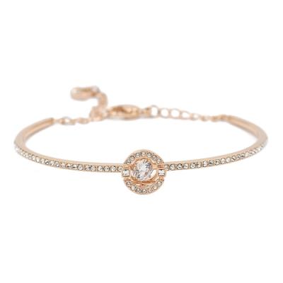 SWAROVSKI 施華洛世奇 SPARKLING璀璨浮動透明圓形水晶玫瑰金手環手鍊