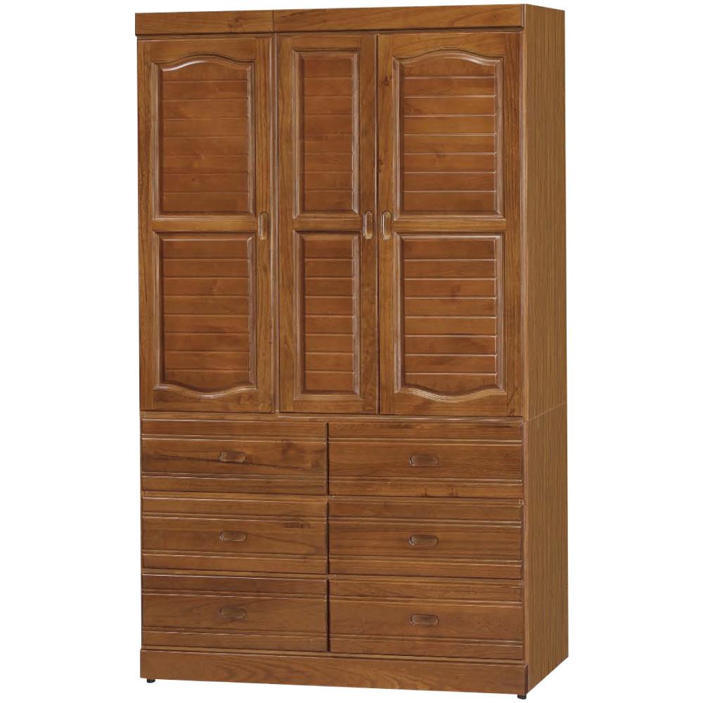 綠活居 優美4尺三門六抽衣櫃(二色)-119.4x56.4x202.5cm免組
