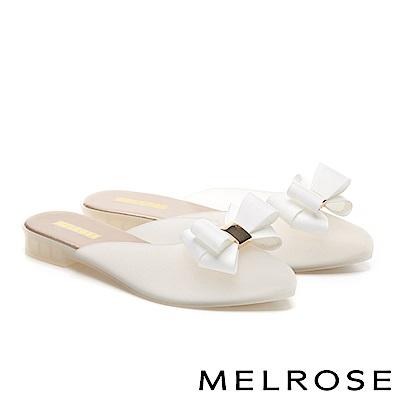 拖鞋 MELROSE 典雅蝴蝶結造型低跟拖鞋-白