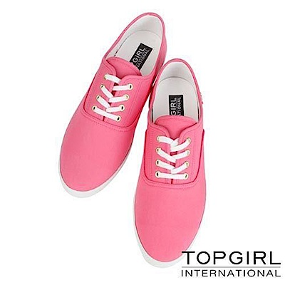 【TOP GIRL】繽紛糖果系列帆布鞋-女-桃紅