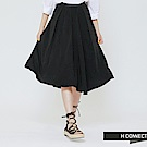 H:CONNECT 韓國品牌 女裝 -純色柔軟摺子長裙-黑(快)