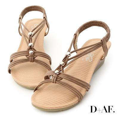 D+AF 溫柔夏風.交叉編織帶串珠楔型涼鞋*棕