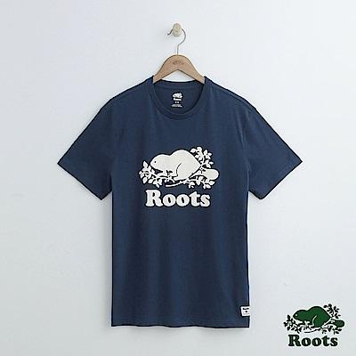 男裝Roots 庫柏海狸短袖T恤-藍