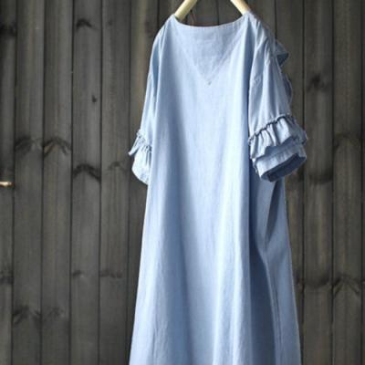 純棉短袖荷葉裙中長洋裝(兩色)-設計所在