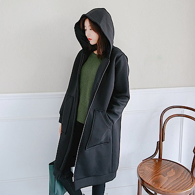 純色暖感造型大口袋休閒長版連帽外套-OB大尺碼