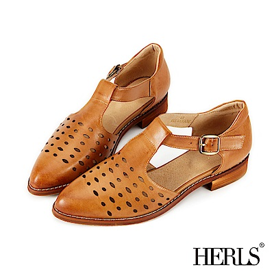 HERLS 全真皮 鏤空T字瑪莉珍低跟涼鞋-棕色