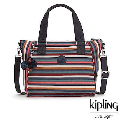 Kipling 手提包 彩色拼接條紋-小