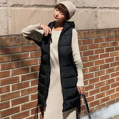 簡約素色長款連帽背心外套 (黑色)-Kugi Girl