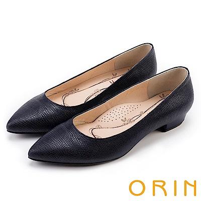 ORIN 典雅輕熟OL 牛皮蜥蜴壓紋素面尖頭粗低跟鞋-藍色