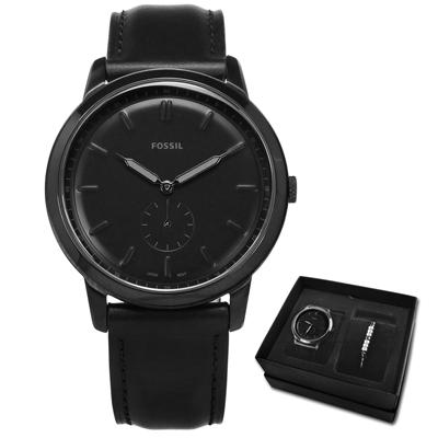 FOSSIL★贈手環 輕薄極簡真皮手錶 禮盒套裝組黑色/44mm