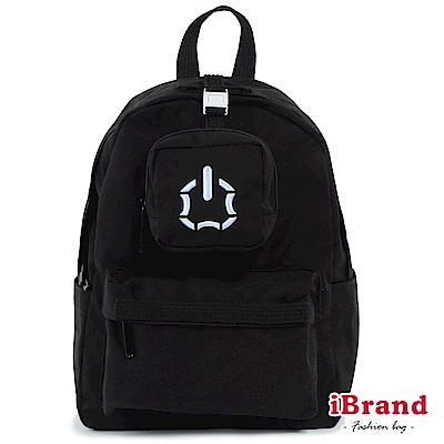 iBrand後背包 簡約素色輕旅行多功能後背包-黑色