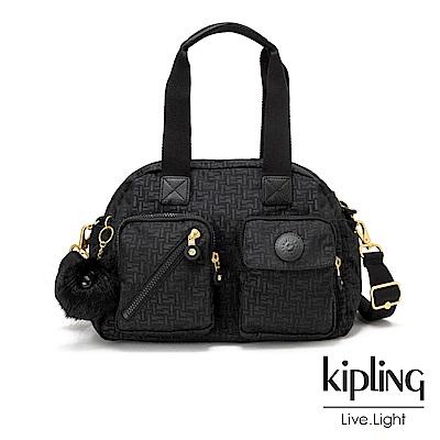 Kipling黑色幾何紋路多層實用手提側背包-DEFEA UP