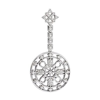 apm MONACO法國精品珠寶 閃耀銀色鑲鋯PROTECTION 愛心耳扣 單邊耳針式耳環