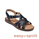 Easy Spirit-seFIONA 牛皮羅馬編織平底涼鞋-深藍色 product thumbnail 1