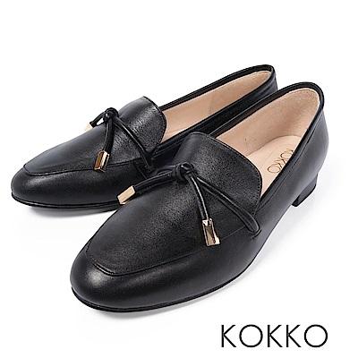 KOKKO - 倫敦旅人透氣真皮方頭鞋-經典黑