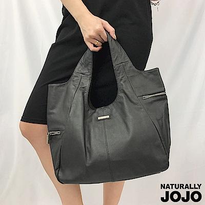 【NATURALLY JOJO】真皮拉鍊設計肩背包(黑)