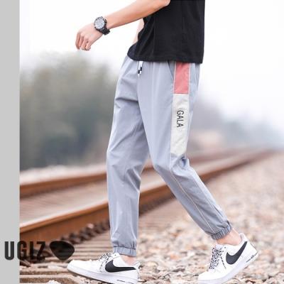 UGIZ-型男抽繩邊條印花縮口褲-2色(M-3XL)