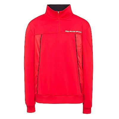 FILA 男款吸濕排汗半門襟T恤-紅 1TES-5451-RD