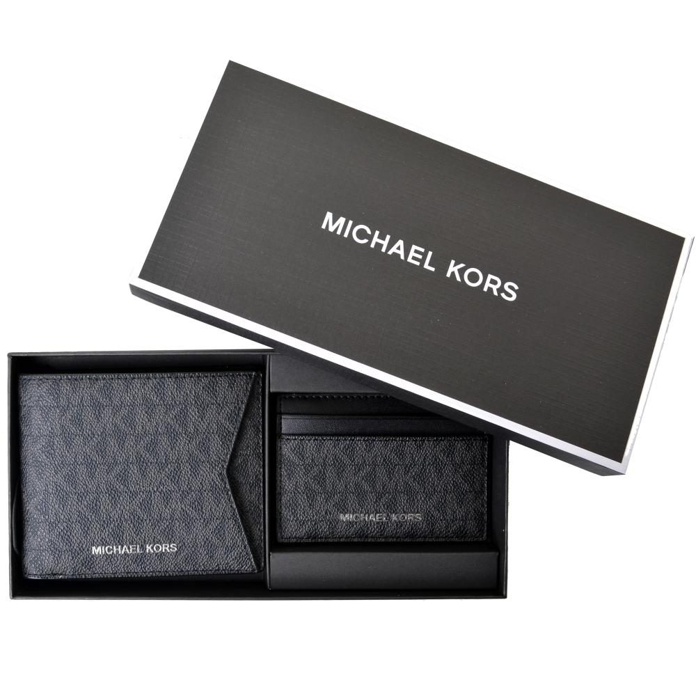 MICHAEL KORS 滿版LOGO八卡男夾/名片夾禮盒組-紳士黑