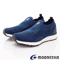 日本Moonstar戶外健走鞋-3E輕量飛織彈力款-L045藍(女段)