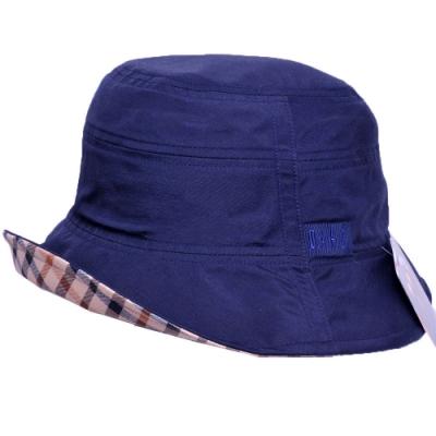 DAKS 經典品牌LOGO刺繡內裏格紋滾邊造型帽(深藍色)