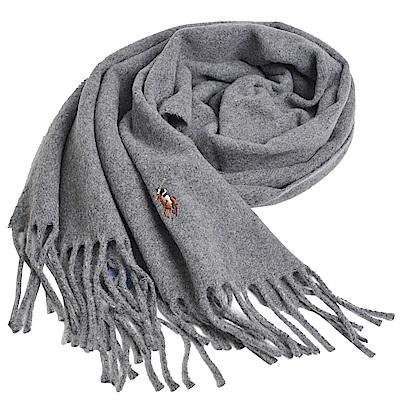 RALPH LAUREN POLO 義大利製彩色小馬刺繡LOGO素面羊毛圍巾(灰色系)