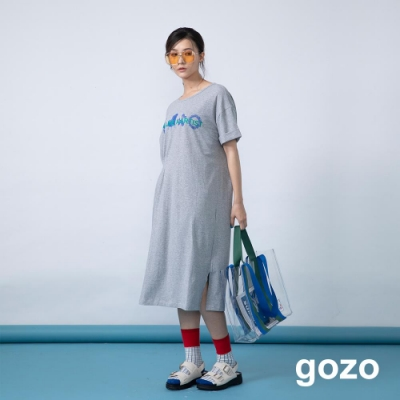 gozo 藝術字母印花單邊壓摺洋裝(二色)