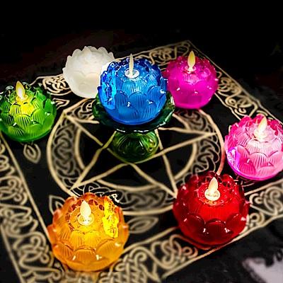 新韻 琉璃心燈燭台電子蠟燭一對同色組(A010)