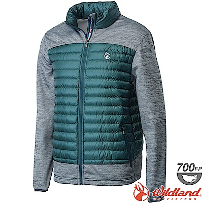 Wildland 荒野 0A62992-48深墨綠 男彈性針織拼接羽絨外套