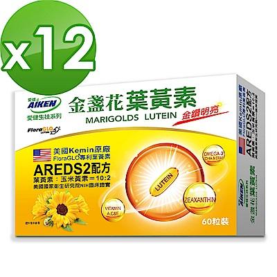 愛之味生技 金盞花葉黃素膠囊60粒*12盒組-AREDS2黃金配方
