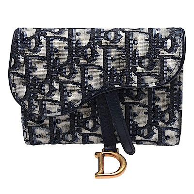 Dior Saddle系列經典OBLIQUE緹花布小牛皮飾邊暗釦短夾(藍色)