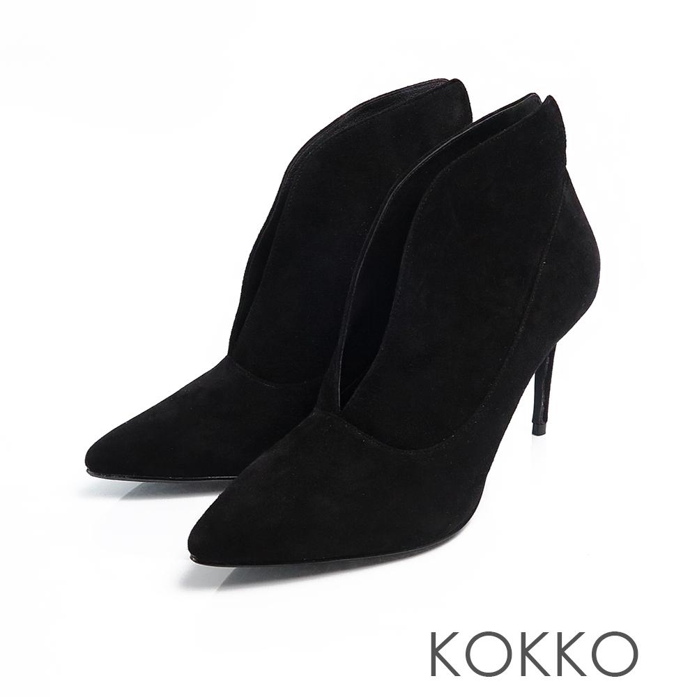 KOKKO台灣手工羊麂皮細跟深V長腿踝靴霧黑色