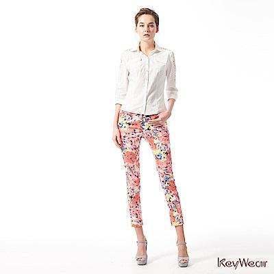 KeyWear奇威名品    亮麗穿搭粉彩繽紛長褲-粉紅色