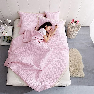 BUNNY LIFE 粉-簡約水洗薄被/床蓋兩用組(含枕套)