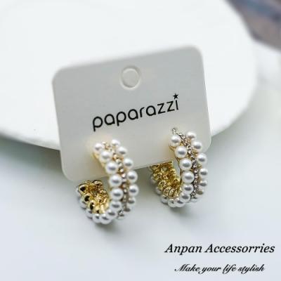 【ANPAN愛扮】韓東大門NYU C型水鑽雙排珍珠925銀針耳釘式耳環-金色