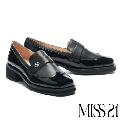 高跟鞋 MISS 21 俏皮鋸齒心型拼接方頭粗高跟鞋-黑