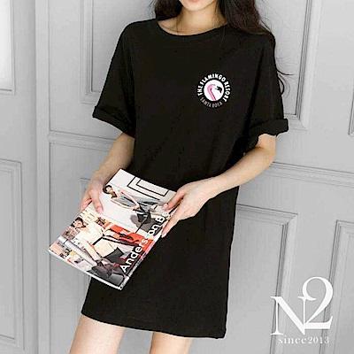 洋裝 正韓夏日紅鶴圖棉質短袖連衣裙 (黑) N2