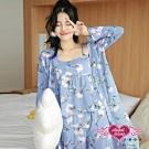 居家睡衣 清香氣質 三件式長袖罩衫休閒衣褲組(藍F) AngelHoney天使霓裳