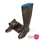 mo.oh愛雨天-2穿超軟撞色皮革感折疊雨鞋-棕色