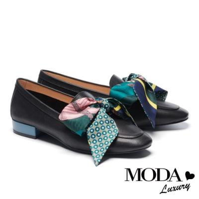 低跟鞋 MODA Luxury 經典質感印花緞帶馬銜釦樂福低跟鞋-黑