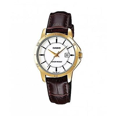 CASIO時尚女伶羅馬指針日曆皮帶錶(LTP-V004GL-7A)-白X金框/28.2mm
