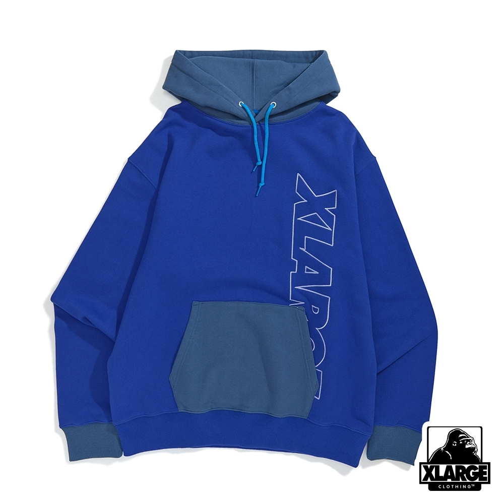 XLARGE 2TONE PULLOVER HOODED SWEAT連帽上衣-藍