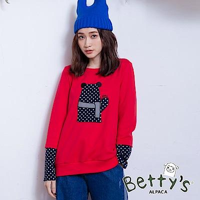 betty's貝蒂思 袖口拼接點點立體動物T-shirt(紅色)